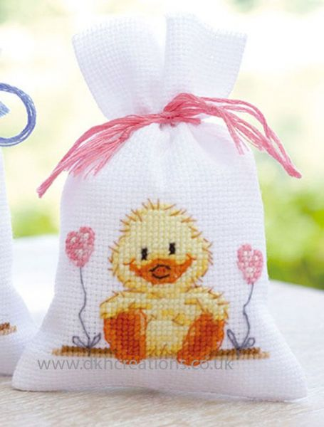 Birth Chick Pot Pourri Bag Cross Stitch Kit